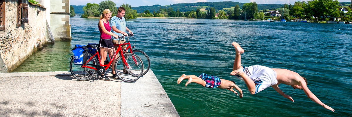 Cycling and swimming - Panorama
